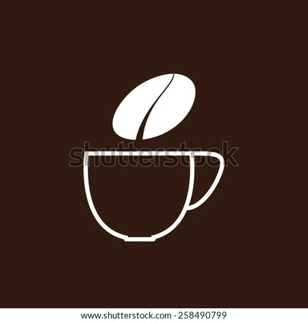 White contoured cup of coffee and white steam in the shape of grain isolated on brown background. Logo template - stock photo