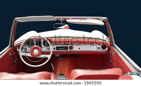 White convertible with red interior. +clipping path - stock photo