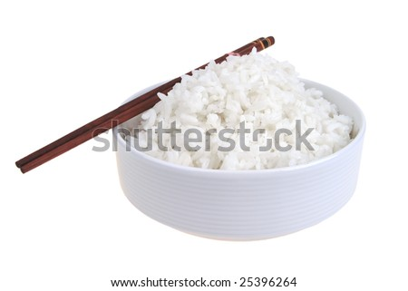 white cooked china rice inside porcelain bowl - stock photo
