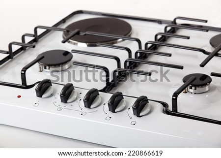 White cooker single gas hob - stock photo