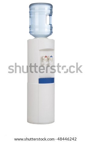 White cooler with water bottle on a white background. - stock photo