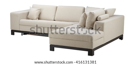 White corner sofa isolated on white include clipping path - stock photo