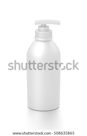 White cosmetic bottle dispenser pump with tube container from front top angle. 3D illustration isolated on white background.