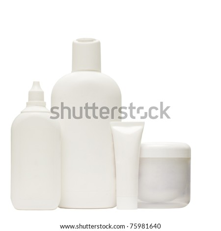White cosmetic bottle - group isolated