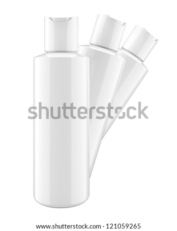 white cosmetic bottles isolted on white - stock photo