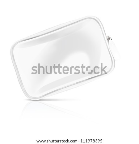 white cosmetic case vanity bag woman lady - stock photo