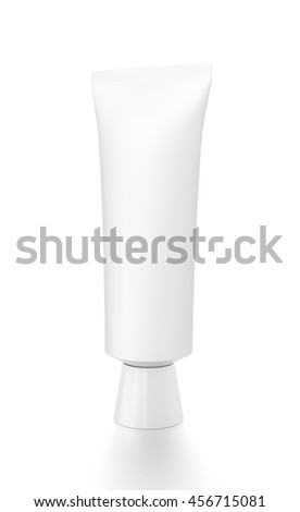 White cosmetic product cream toothpaste tube from front side angle. 3D illustration isolated on white background. - stock photo