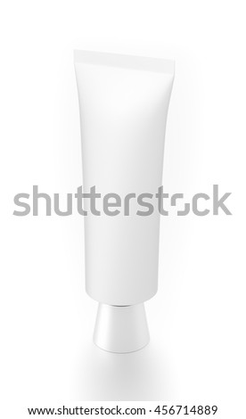 White cosmetic product cream toothpaste tube from top side angle. 3D illustration isolated on white background.