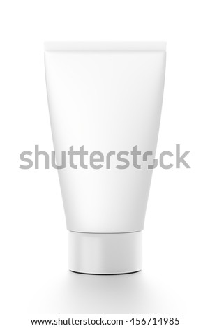 White cosmetic product cream tube from front angle. 3D illustration isolated on white background.