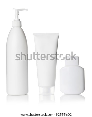 White Cosmetics bottle - stock photo
