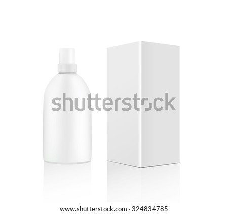 White cosmetics containers, bottle with package - stock photo