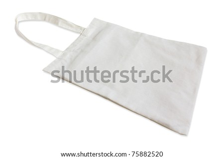 White cotton bag  isolated on white background. - stock photo
