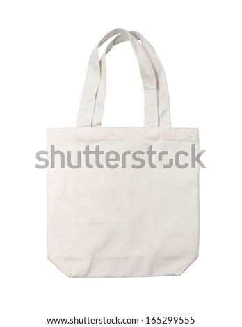 White cotton bag on white background - stock photo