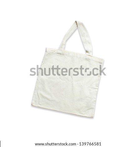 White cotton bag on white isolated background - stock photo