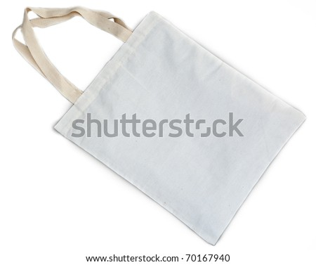 White cotton bag on white isolated background. - stock photo