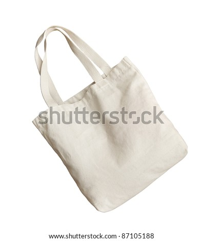 White cotton bag on white isolated background fashion reuse shopping bag for nature and environment preserve - stock photo