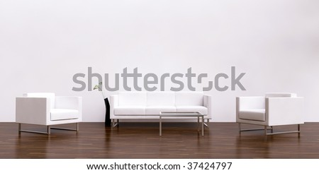 white couch and armchair to face a blank white wall