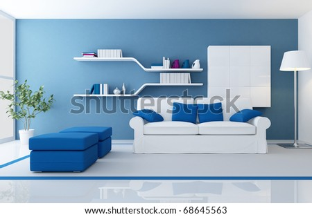 white couch in a blue modern living room - rendering - stock photo