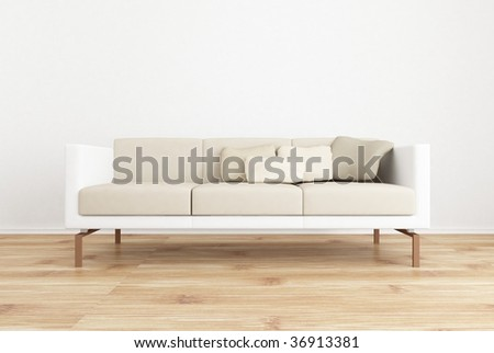 white couch to face a blank white wall with parquet floor