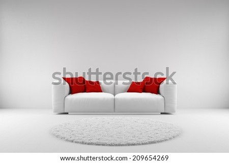 White couch with red pillows and carpet with copy space - stock photo