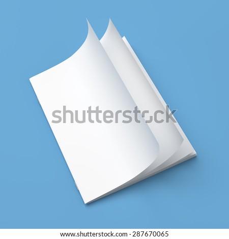 White cover empty magazine blank on blue background - stock photo
