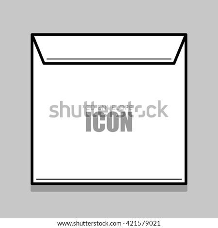 White  cover for compact disc. White envelope illustration. Thin line envelope. - stock photo
