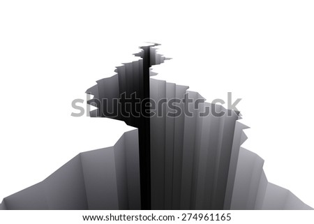 White cracked ground floor rendered in 3d. - stock photo