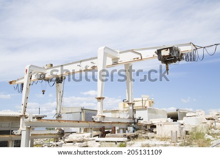 White crane at the archaeological site - stock photo
