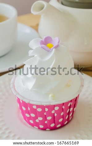 White cream Cupcake - stock photo