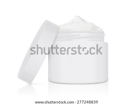 White cream jar open lid have copy space for logo, label, and other - stock photo