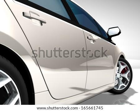 White cream sport car - stock photo