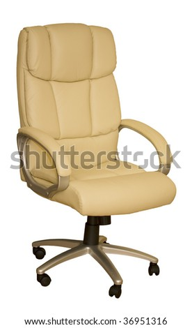 White creamy leather executive arm chair