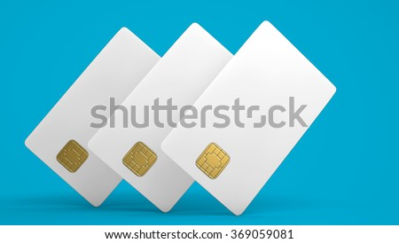 White credit card on blue background - stock photo