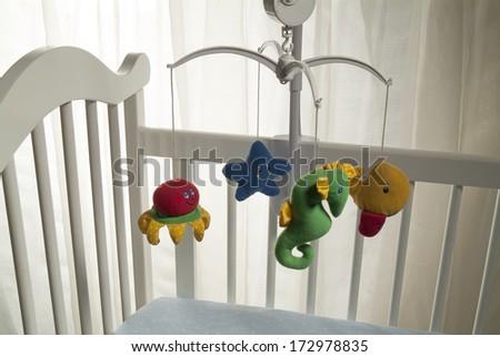 white crib - stock photo