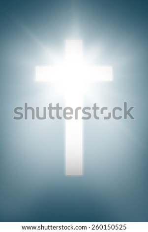 white cross against blue background with vignette