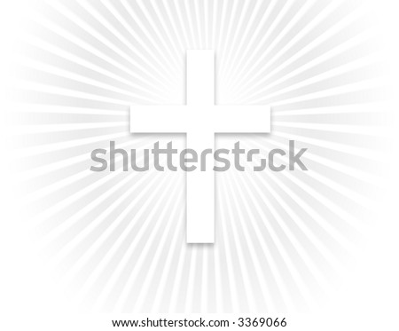 White cross background with a smaller cross - stock photo