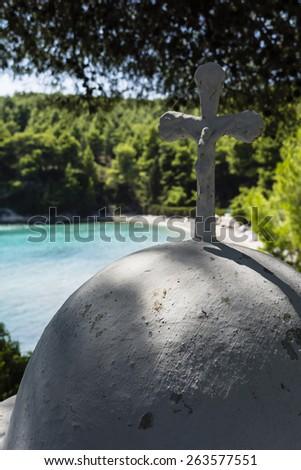 White Cross in beach of alonissos, Sporades, Greece - stock photo
