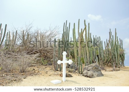 White cross in the cunucu on Aruba island in the Caribbean