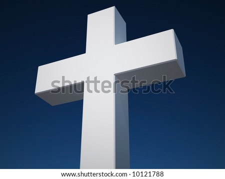 white cross on blue sky background
