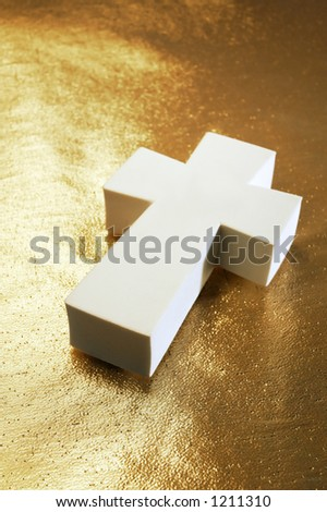 white cross on gold - stock photo