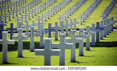 White crosses at the American war cemetery in Manila, Philippines - stock photo
