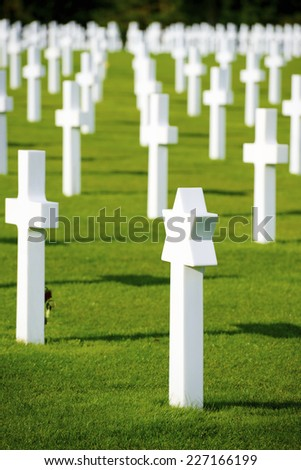 White crosses in Normandy, France. - stock photo