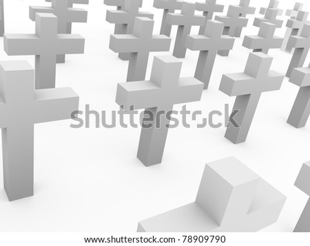 White crosses in the cemetery. Spiritual and symbolic concept.