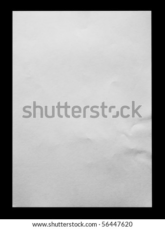 White crumpled paper on black background - stock photo