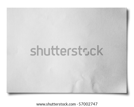 White crumpled paper on white background isolated Horizontal - stock photo