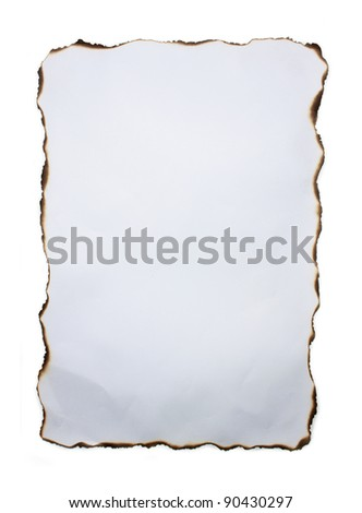 White Crumpled Paper with Burned Edges. - stock photo