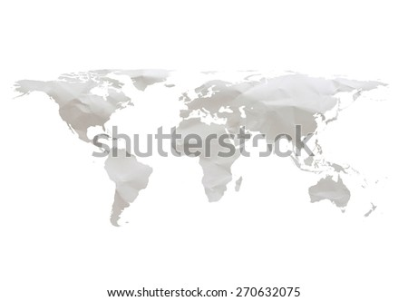 white crumpled paper world map isolated on white backgrounds. - stock photo