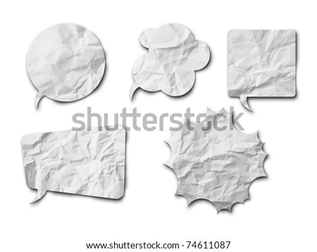 White crumpled speech bubble Paper on white background with shadow - stock photo