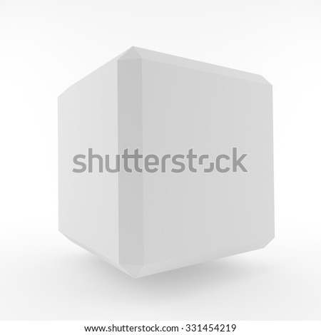 White Cube Background. 3d Abstract Design Element - stock photo