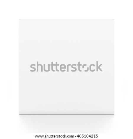 White cube blank box from front angle. 3D illustration isolated on white background. - stock photo